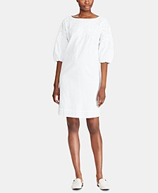 Bell-Sleeve Cotton Shift Dress