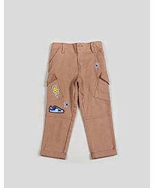Kinderkind Boy's Twill Cargo Pants with Patchwork