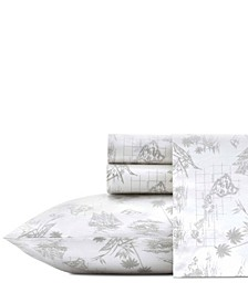 Tommy Bahama Vintage Map Grey Sheet Set, Queen