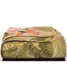 Tommy Bahama Tropical Orchid Palm Green Throw