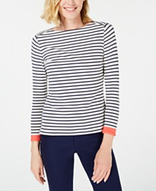 Anne Klein Contrast-Trim Striped Top