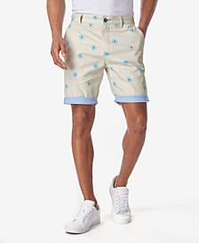 Men's Daisy Print Contrast Cuff Shorts
