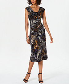 Connected Cowlneck A-Line Dress