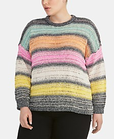 RACHEL Rachel Roy Trendy Plus Size Striped Sweater