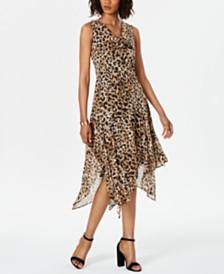 Robbie Bee Petite Leopard-Print Midi Dress