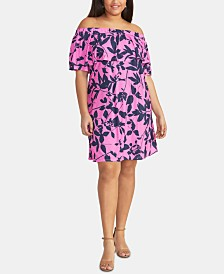 RACHEL Rachel Roy Trendy Plus Size Libby Floral-Print Off-The-Shoulder Dress
