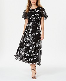 Floral Printed Flutter-Sleeve Maxi Dress