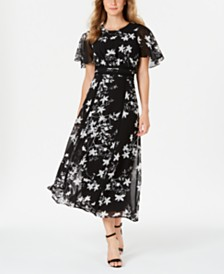 Calvin Klein Floral Printed Flutter-Sleeve Maxi Dress