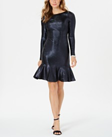Nightway Metallic Flounce Dress