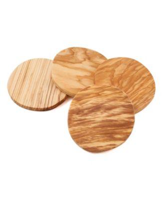 Set of 4 Olive Wood Coasters