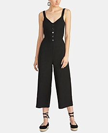 Cotton Cropped Tie-Back Jumpsuit
