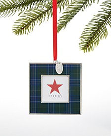 Christmas Cheer Metal 2019 Plaid Photo Frame Ornament, Created For Macy's