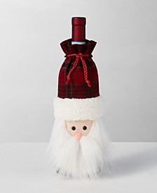 Christmas Cheer Santa Head Bottle Cover with Pull Tie Closure, Created for Macy's