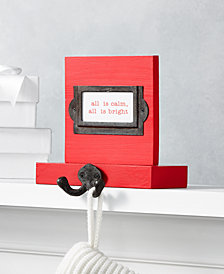 """Holiday Lane Christmas Cheer Wood and Metal Place Card Stocking Holder with """"All is Calm. All is Bright"""" Card, Created for Macy's"""