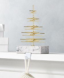 Holiday Lane Shine Bright Gold Christmas Tree with Marble Like Base Stocking Holder, Created for Macy's