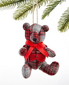 Holiday Lane Christmas Cheer Plaid Fabric Bear Ornament, Created for Macy's