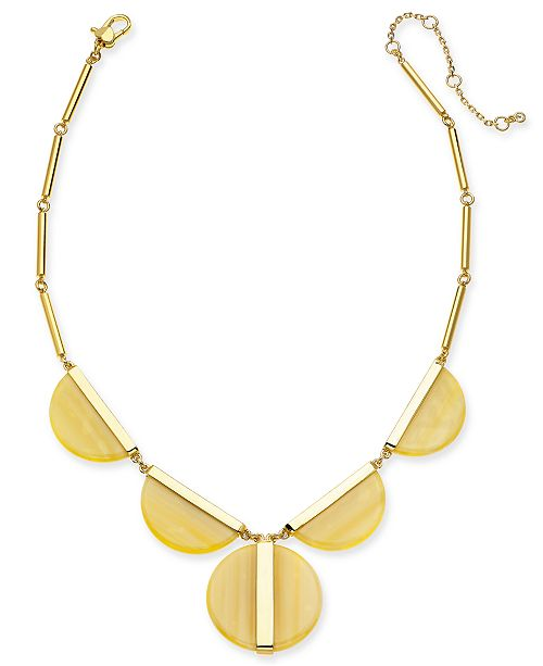 "kate spade new york  Gold-Tone Half-Circle Statement Necklace, 16"" + 3"" extender"