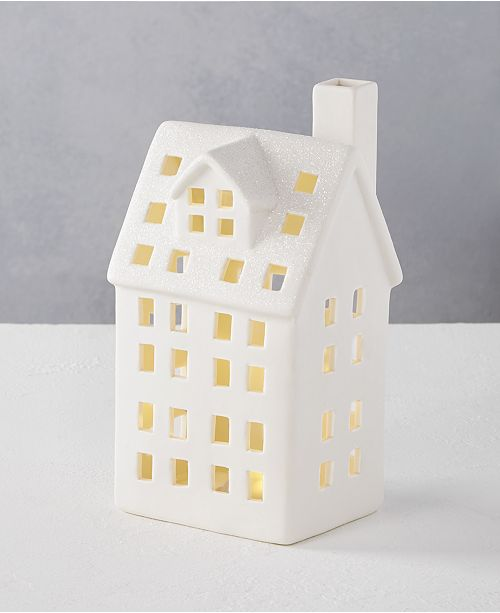 Martha Stewart Collection Martha Stewart Silver Woods Large White Glitter Ceramic LED House, Created for Macy's