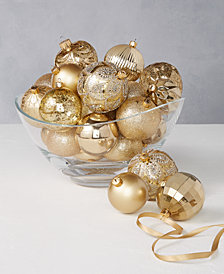 Holiday Lane Shine Bright Set of 27 Shatterproof Gold Gift Ornaments, Created for Macy's