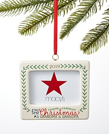 Holiday Lane Our First 2019 Our First Christmas as Grandma and Grandpa Photo Frame Ornament, Created for Macy's