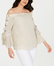 Thalia Sodi Gauze Off-The-Shoulder Lace-Up Top, Created for Macy's