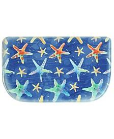 "Bacova Watercolor Starfish 18""x30"" Memory Foam Slice Rug"