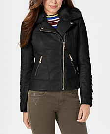 Faux-Fur-Collar Faux-Leather Jacket