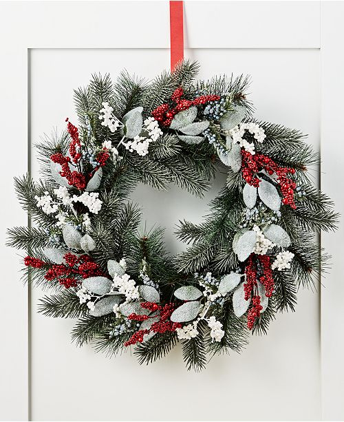 Martha Stewart Collection Farmhouse Holiday's Red, White and Blue Berry Wreath, Created for Macy's