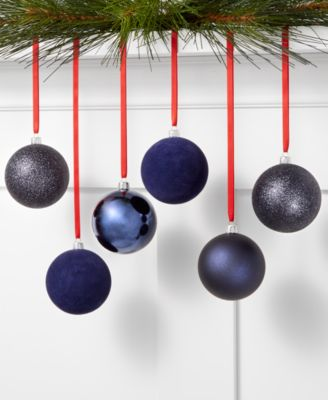 Midnight Blue Set of 6 Blue Glitter, Matte and Shiny Shatterproof Ornaments, Created for Macy's