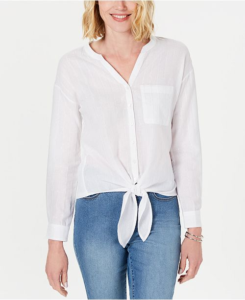 Charter Club Metallic-Striped Cotton Tie-Front Top, Created for Macy's