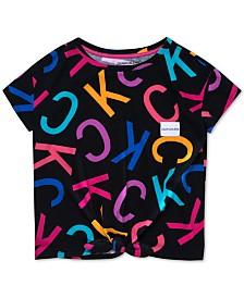 Calvin Klein Big Girls Logo-Print Cotton T-Shirt