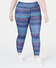 Ideology Plus Size Chevron-Print Leggings, Created for Macy's