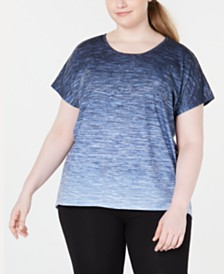 Ideology Plus Size Ombré Keyhole-Back T-Shirt, Created for Macy's