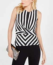 INC Black & White Twist-Front Top, Created for Macy's