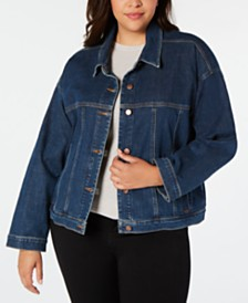 Eileen Fisher Plus Size Organic Cotton Trucker Jacket