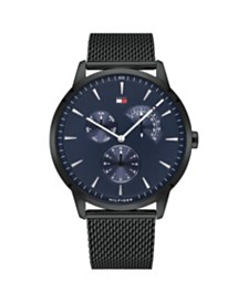 Tommy Hilfiger Men's Black Stainless Steel Mesh Bracelet Watch 44mm , Created for Macys
