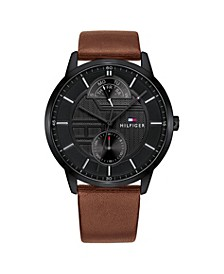 Mens Brown Leather Strap Watch 44mm, Created for Macys