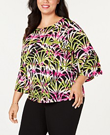 Plus Size Flounce Printed Top
