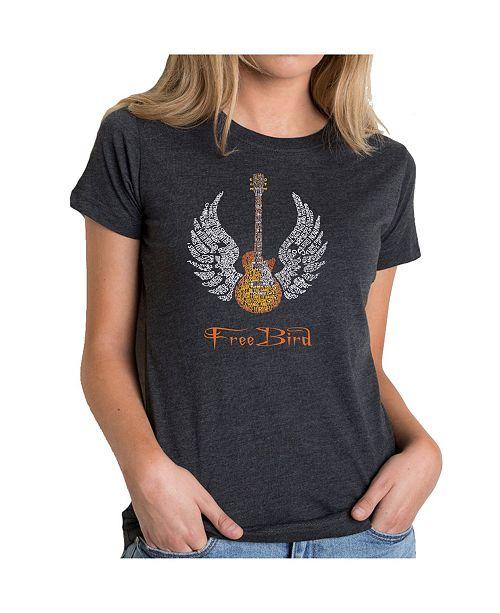 LA Pop Art Women's Premium Word Art T-Shirt - Lyrics To Free Bird