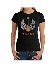 Women's Word Art T-Shirt - Lyrics To Free Bird