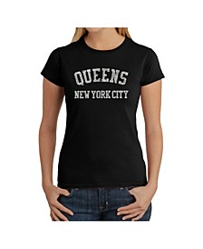 Women's Word Art T-Shirt - Popular Queens Neighborhoods