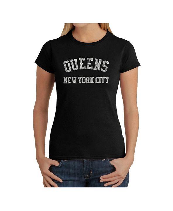 LA Pop Art Women's Word Art T-Shirt - Popular Queens Neighborhoods