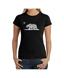 Women's Word Art T-Shirt - California Bear