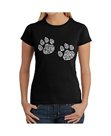 Women's Word Art T-Shirt - Meow Cat Prints