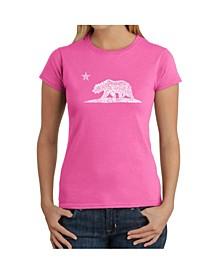 Women's Word Art T-Shirt - California Bear
