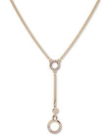 """Gold-Tone Crystal Circle Lariat Necklace, 16"""" + 3"""" extender"""