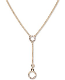 "DKNY Gold-Tone Crystal Circle Lariat Necklace, 16"" + 3"" extender"