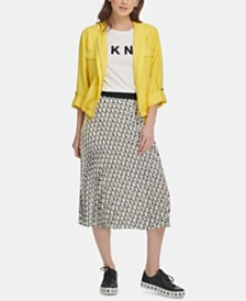 DKNY Printed Pleated A-Line Skirt