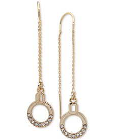 DKNY Gold-Tone Crystal Circle Threader Earrings
