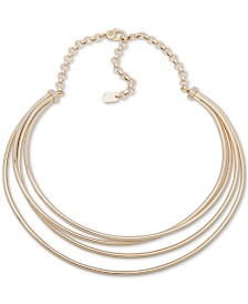 "Lauren Ralph Lauren Gold-Tone Layered Collar Necklace, 16"" + 3"" extender"